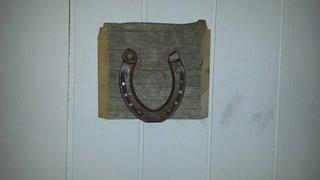 Tavla  Antik hästsko på drivved.